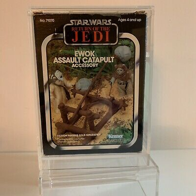 Vintage Star Wars Palitoy Rotj Ewok Assault Catapult In Acrylic Case Complete!