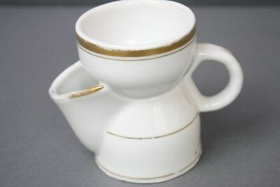Old Paris Antique Shaving Cup w Spout Pitcher White Gold Rare