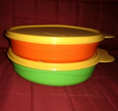 Tupperware Set of 2 Kid's Divided Dishes Bowls Green Orange w ith Gold Lids