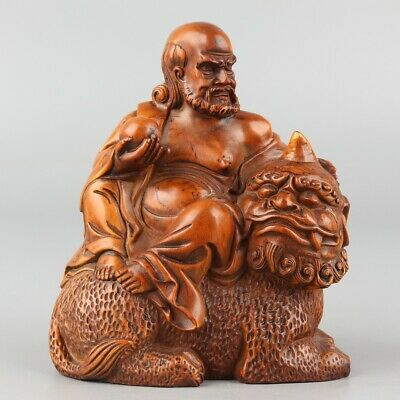 Chinese Exquisite Hand-carved Luohan beast Carving Boxwood statue