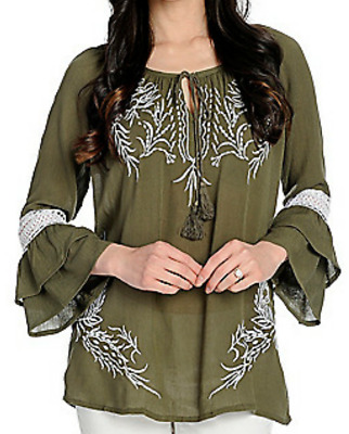 a8b07349adf Indigo Thread Co.™ Gauze Bell Tier Slv Embroider Boho People Peasant Top  Olive L