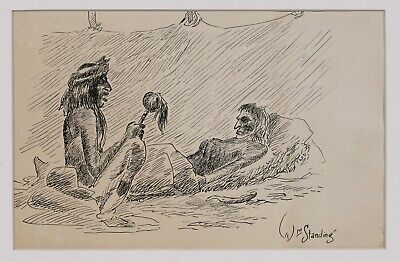 Native American-WPA Ink Drawing by William Standing / Plains Indian-Montana 1940