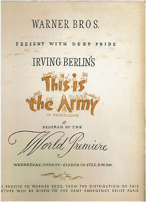 "6) IRVING BERLIN Signs Playbill ""This IsThe Army""+Program+4Rare Vintage Photos"