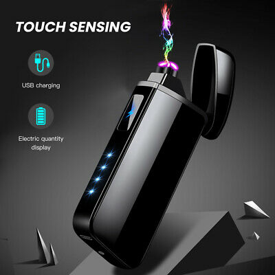 Touch Windproof Dual Arc Electric Plasma Cigarette Lighters USB Rechargeable New