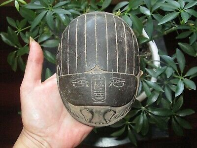 Ancient Egyptian Stone Scarab Beetle W/Heiroglyphs Heiroglyphics