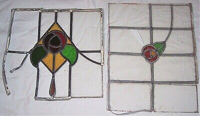 Antique/Vintage Lead Stained Glass Window Panel Rose Floral Repair/TLC/Salvage