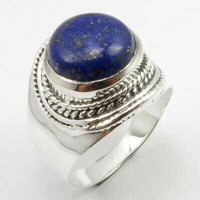 925 Sterling Silver Lapis Lazuli Antique Look Ring Size 8 Ladies Gems Jewelry