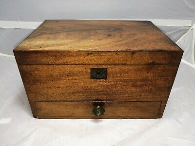 """Antique ~Small Wooden Box with Drawer ~Mahogany ~ Jewellery Box? ~11"""" x 7"""" ~VGC"""