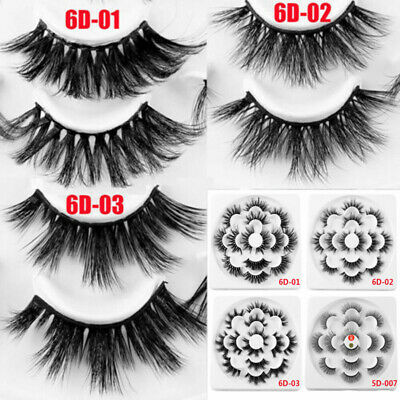 130f128ae3f SKONHED 7 Pairs 6D Mink Hair False Eyelashes 25mm Lashes Thick Wispy Fluffy  FIUS