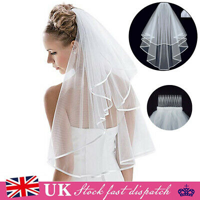 Veil Comb Ivory White With Gold Bride Bachelorette to Be Hen Night Party Wedding