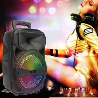 """8"""" Portable FM Bluetooth Party Speaker Subwoofer Heavy Bass Sound System 1000W"""