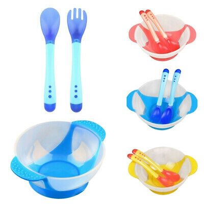 3Pcs/Set Baby Toddler Suction Bowl Temperature Spoon Fork Feeding Tableware Uk