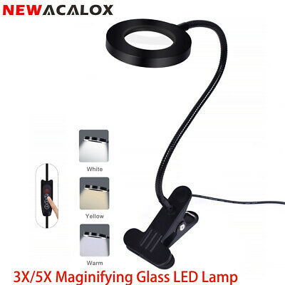 NEWACALOX Flexible 3X-5X Magnifying Glass LED Clip-on Table  Desk Reading Lamp