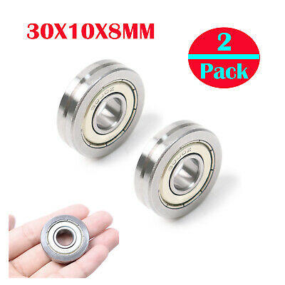 6Pcs V-Guide Way Sealed Guide Pulley Rail Ball Bearing Depth 1.75mm ID10mm