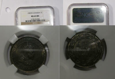 1907-H Canada Cent Ngc Ms63 Bn Inv#364-B17