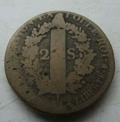 1792 France King Louis Xvi Two 2 Sol French Revolution Coin Thick Coin C Pics