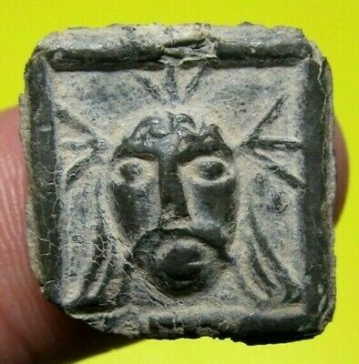 Amazing SPANISH MEDIEVAL AMULET MEDAL? IHS & FACE OF JESUS  PENDANT 14-15th. C