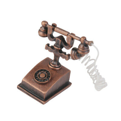 1/12 Dollhouse Miniature Retro Style Phone Telephone Model Kids Play Toys