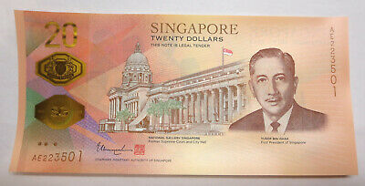 Singapore $20 Twenty dollars commemorative 2019 Bicentennial Banknote, UNC