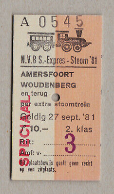 Nvbs Expres Stoom 81 Netherlands Railway Ticket / Fahrkarte (427)