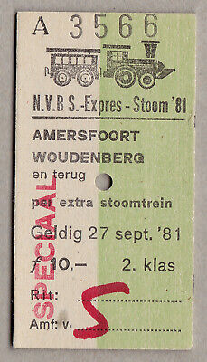 Nvbs Expres Stoom 81 Netherlands Railway Ticket / Fahrkarte (226)