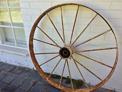 "Garden Wagon Wheel - 138 cm / 54.3"" (Antique Decorative Metal Garden Cart Wheel)"