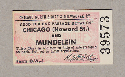 Chicago North Shore Milwaukee Railway Ticket / 1 Fahrkarte (351)