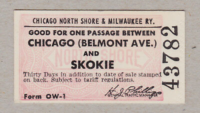 Chicago North Shore Milwaukee Railway Ticket / 1 Fahrkarte (437)