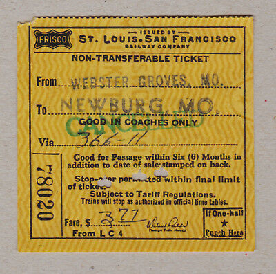 St Louis San Francisco Railway Company Ticket / 1 Fahrkarte (369)