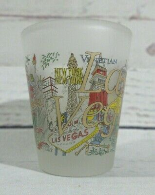 Las Vegas Collectible Barware Souvenir Shot Glass Clear Frosted  Graphic