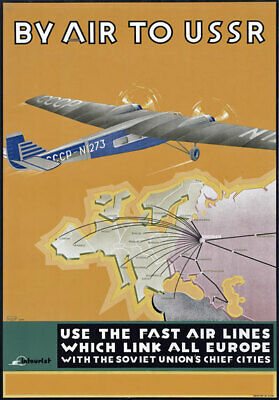 TR48 Vintage 1930's By Air To USSR Russian Soviet Union Travel Poster A4
