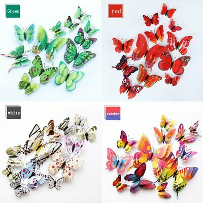 12Pcs/set 3D Butterfly Colorful Wall Stickers Decal PVC Child Room Home Decor