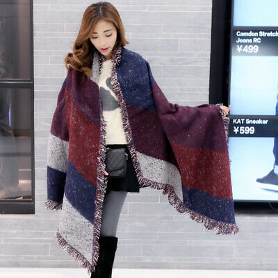 401460f90 NEW Women Long Cashmere Winter Wool Blend Soft Warm Scarf Wrap Shawl Plaid  Scarf