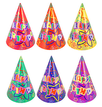 20 x Happy Birthday Paper Cone Party Hats (Multi Colour Balloons) UK