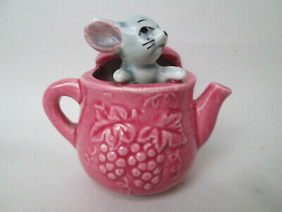 Unusual Vintage 1950's Glazed Porcelain Mouse in a Pink Tea Pot