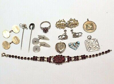 Fantastic Job Lot of Antique Jewellery inc Silver, Gold: Ring, Brooch Pin, Links
