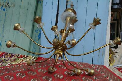 LARGE Antique French Chandelier 14arm Brass & Cut Glass 1920's Hollywood Regency