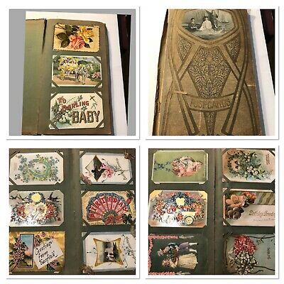 Antique Postcard Album Mostly Greetings-Holidays Few RPPC's Estate Mich. 116++