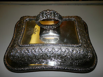 1875-1891 Tiffany & Co Silver Soldered Tureen Repousse Style Ornate