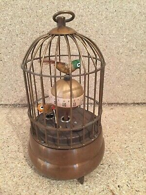 Vintage Antique Brass Automaton Bird Cage Wind Up Clock Mantle Piece Clock