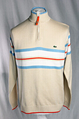 a803e1f8 Lacoste 1/4 Zip Neck Jumper, Retro- Striped Multicoloured. Men's Size L