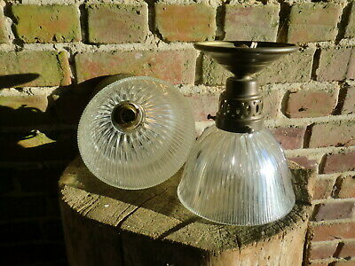 Antique Vintage French Small Edwardian Holophane Light X 2  One With Gallery