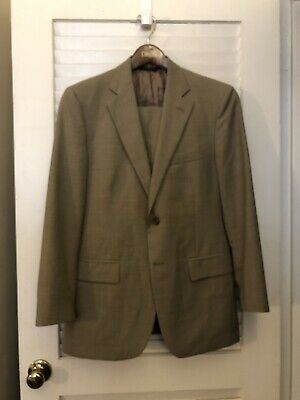 37R 34x29 BROOKS BROTHERS 346 STRETCH 2 BUTTON SOLID KHAKI SUIT SUMMER WOOL