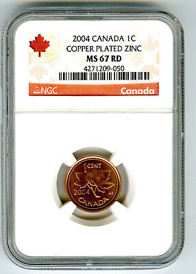2004 Canada Cent Ngc Ms67 Rd Non Magnetic Zinc High Grade Issue