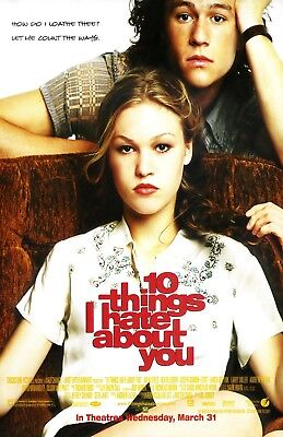 10 Things I Hate About You movie poster Julia Stiles, Heath Ledger - 11 x 17