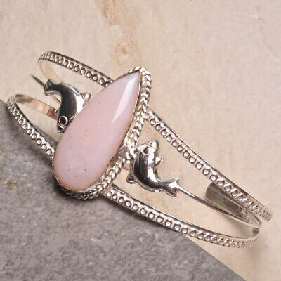 """Natural Pink Opal Gems Cuff Bracelet 8""""~10"""" 925 Silver Plated Over Solid Copper"""