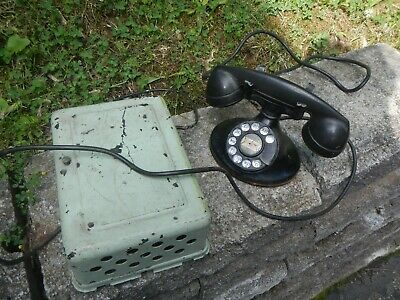 Antique Vintage 1940's Western Electric Desk Telephone With Phone Bell Box