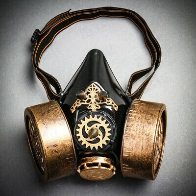 Black Gold Steampunk Gas Mask Respirator Half Face Halloween Cosplay Costume