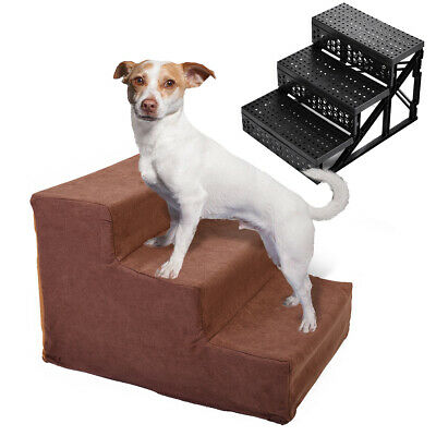 Dog Steps For High Bed 3 Steps Pet Stairs Small Dogs Cats Ramp Ladder Coffee