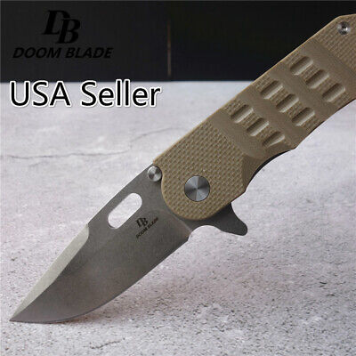 8''61HRC Army Knife Folding D2 Blade G10 Handle Hunting Knives Survival Tactical